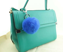 Genuine 8cm Rabbit fur ball keychain Fashion charm trinket purse furry key chain ring holder bag