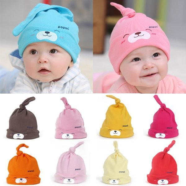 9 Colors Cartoon Baby Girl Boy Toddler Cotton Sleep Cap Headwear Lovely Hat For Newborn Baby