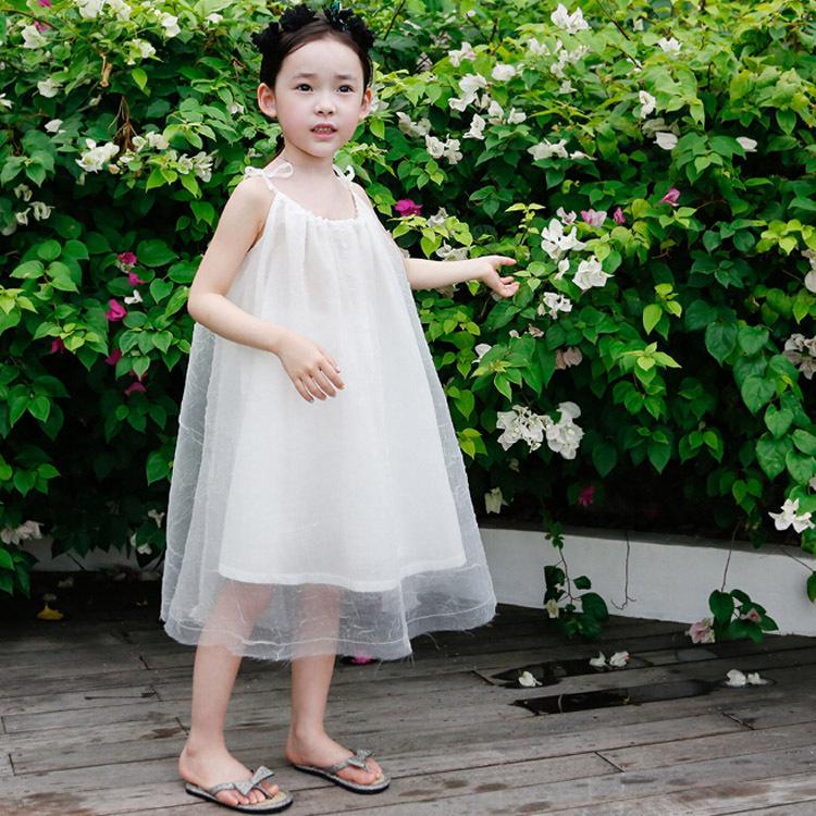 New arrival 2015 girls summer fashion white beach dress girls sleeveless dress kids suspender dress(China (Mainland))