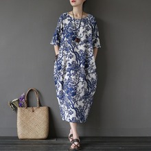 Chinese style Flower Print Plus size Women Dress Loose Casual Oversized Summer Dress Robe Femme Linen Cotton Long Dresses A002(China (Mainland))