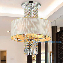 Fabric Shade Modern Crystal Chandeliers AC90-260V Diameter 50cm Lamp High 63cm 4* E14 Lustres Home Decoration Free Shipping(China (Mainland))