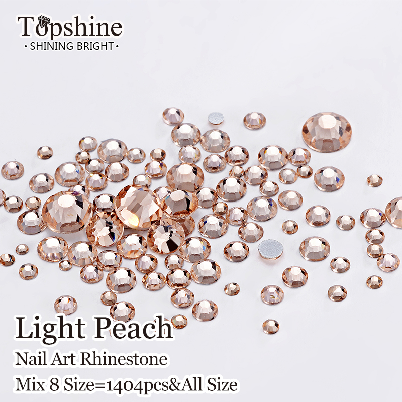 Glue On Flat Back 1404pcs Light Peach Best Quality Non Hot Fix Glass Material Mix 8 Size Nail Art Rhinestones(China (Mainland))