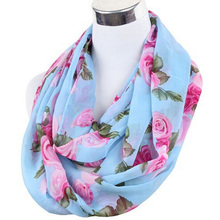 Free Ship ladies' lover flower rose chiffon scarf chevron Infinity Scarves women shawl  Beach towel female oblong summer scarf(China (Mainland))