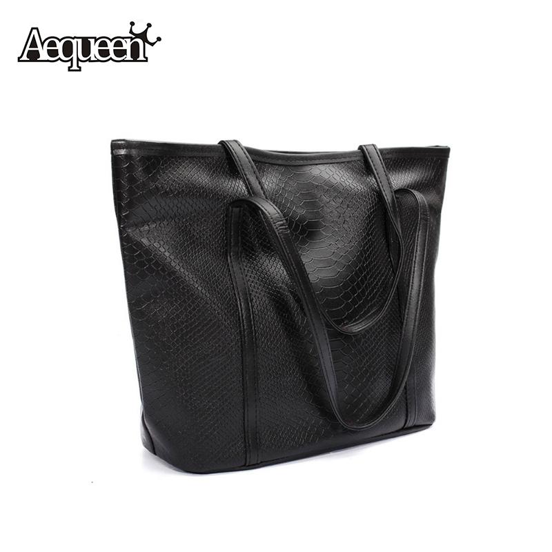 Crocodile Embossed Handbag PU Leather Large Capacity Simple Pattern Women Shoulder Casual Ladies Fashion Black Totes Bags(China (Mainland))