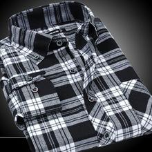Flannel Men Plaid Shirts 2014 New Non Iron Luxury Slim Fit Long Sleeve Brand Formal Business Fashion Shirts Dress F0092(China (Mainland))