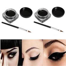 2 PCS Mini Eyeliner Gel Cream With Brush Makeup Cosmetic Black Life Waterproof Eye Liner Dropshipping Free Shipping jan19(China (Mainland))