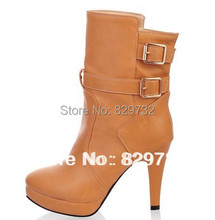 Free shipping 2014 winter boots women genuine leather shoes winter shoes women pumps motorcycle boots high heels boots(China (Mainland))