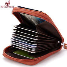 Hot Sale Genuine Leather Unisex Card Holder Wallets High Quality Female Credit Card Holders Women Pillow Card holder Purse(China (Mainland))