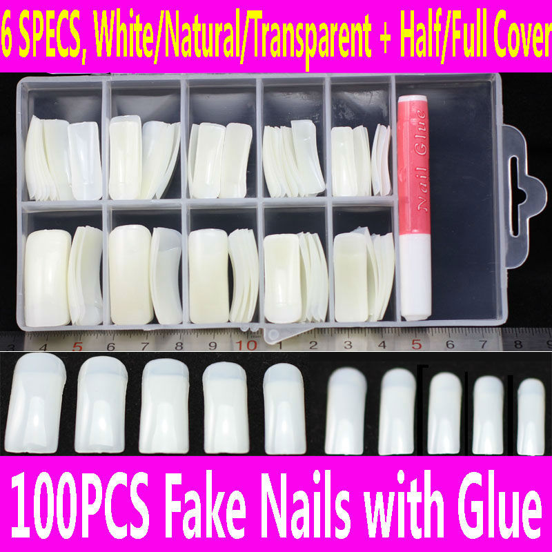 100pcs False Nails with Glue & Case Set French Clear Acrilic Artificial Fake Half Full Cover White Natural Transparent Skin Tips(China (Mainland))