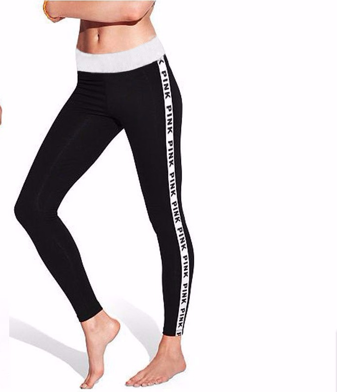 VS PINK Women Pants Exercise Tights Fitness leisure Trousers Compression Pants Mid Waist High Elastic
