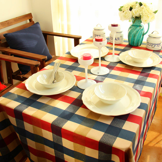 Yellow & Red & blue plaid design tablecloths, printed linen cotton table cloth, lace tablecloth(ss-4045)(China (Mainland))