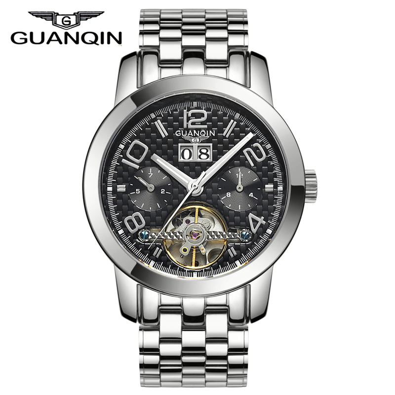 men watches 2015 top brand luxury GUANQIN Tourbillon Automatic Mechanical  Sapphire Waterproof watches men relogio masculino<br><br>Aliexpress