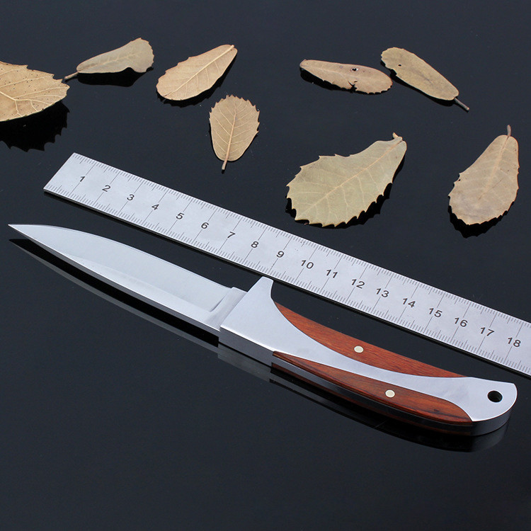 Buy 57HRC Hardness Sharp blade steel + wood handle Columbia 440 camping knives hiking hunting survival tactical straight knife cheap