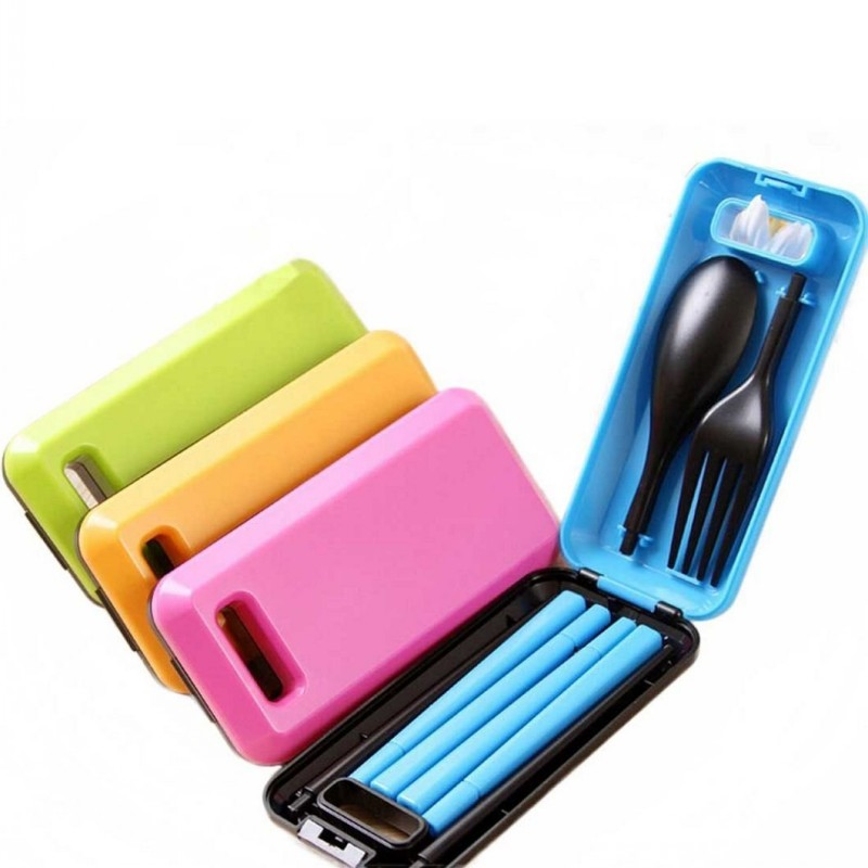 Portable Travel Kids Adult My Cutlery Fork Chopsticks Spoon Camping Picnic Set Gift for CHild KIds(China (Mainland))