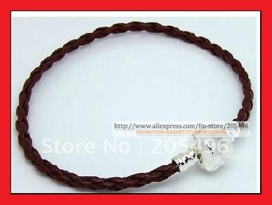 100% New braided PU Genuine leather bracelet for men 3mm 20cm FREE SHIPPING wholesale
