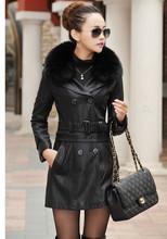 Hot selling,2015 new fashion sheep skin leather jacket,detachable female long&short leather windbreaker locomotive jackets M-5XL(China (Mainland))