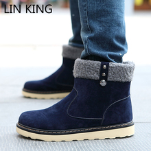 Buy LIN KING New Arrival Men Boots Slip-on Flat Winter Snow Boots Thick Sole plush Ankle Boots Male Warm Casual Shoes Botas for $15.26 in AliExpress store