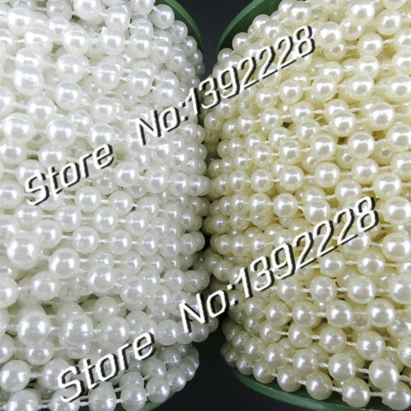 Pearl Beads Garland diy Wedding Flowers decoration White/Beige 10 m/roll diy flower for wedding Christmas Festa,Event supplies
