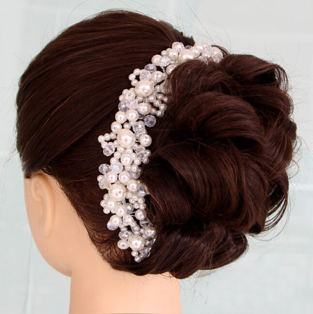 Free Bending Crystal Pearl Beads Bridal Hair Accessoreis Bridal Wedding Hair Crown Bride Jewelry Accessories Party Decoration(China (Mainland))