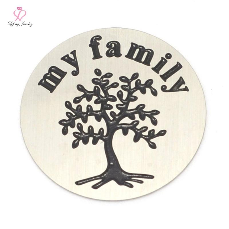 2016 New Design My Family Tree Plate letter 22mm 316L Stainless Steel Silver plates for 30mm Floating glass Lockets LFSP044(China (Mainland))