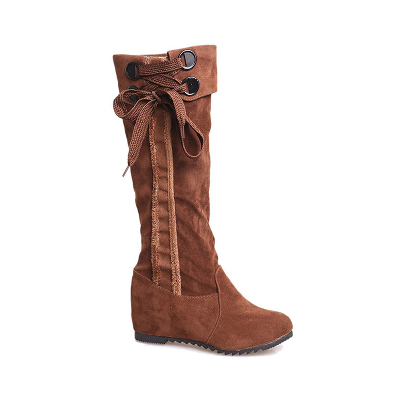 New 2016 Full Suede Leather Fashion Boot Mid Calf Women Boots Autumn Winter Boots Shoes Woman Riding Motorcycle Lady Boots(China (Mainland))
