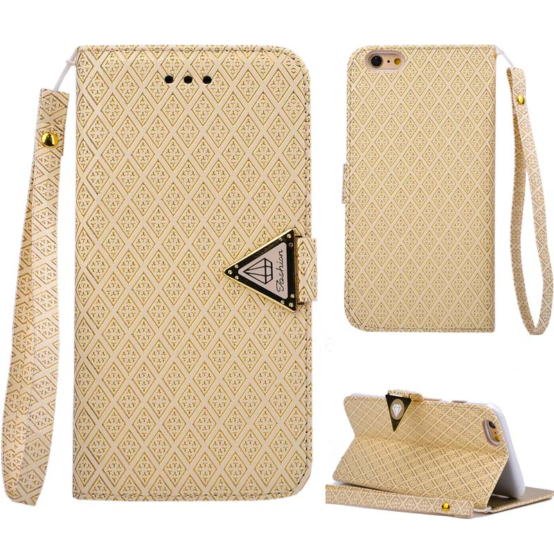 PU Leather Nobility Phone Bag Case For Iphone 6 Plus Flip Cover Triangle Buckle Stand Case For Apple Iphone 6S Plus 5.5(China (Mainland))