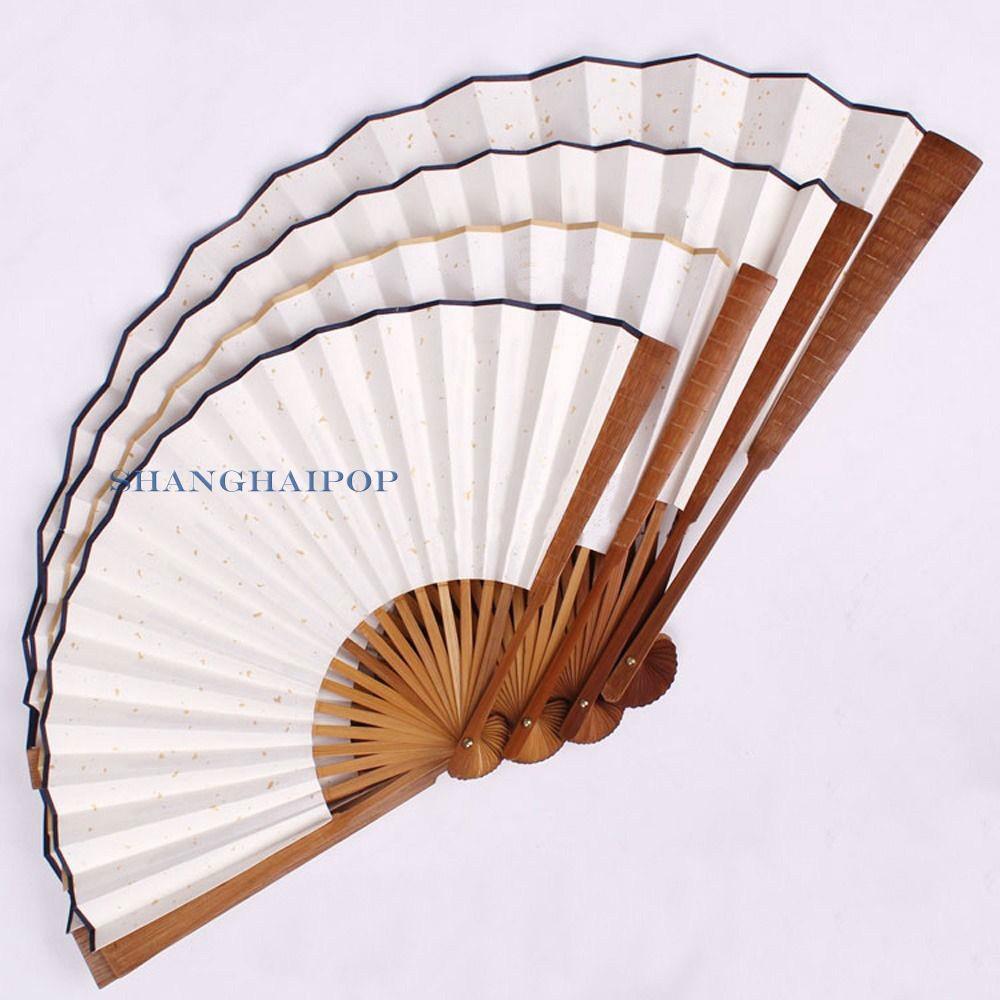 1 X DIY Paper Folding Hand Fan for Drawing Penmanship Plain Dots White Retro New 048-5027(China (Mainland))