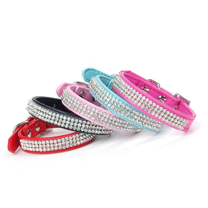 2PCS Full Rhinestone Dog Collar Perro Bling PU Leather Dog Collars Pet Collars For Dogs Accessories Mascotas Animal S M L Hot(China (Mainland))