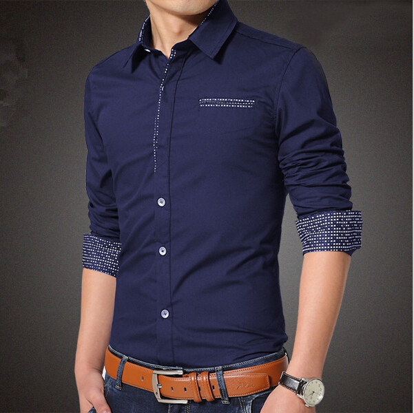 Men Casual Shirts Single Breasted Dot Design Plus 5XL Mens ...