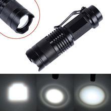 2016 New Mini 2000 Lumens Bright CREE Q5 LED Adjustable Zoom Focus Flashlight Torch Lamp Light Black For AA/14500 Battery(China (Mainland))