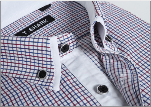 2015 Brand new summer business casual slim fit short sleeve turn down collar striped plaid men