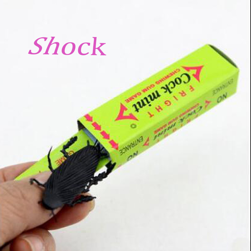 2Pcs Joke Chewing Gum Shocking Toy Gadget Prank Trick Gag Gifts Funny Shock Plastick Cockroach Chewing Gum Farce Blague(China (Mainland))
