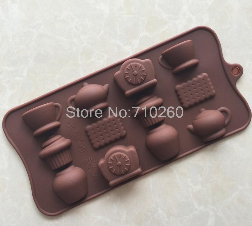 1pcs Free Shipping Tea time type silicone cake Chocolate Mold Jelly Mold Cake Moulds Bake ware Free shipping(China (Mainland))