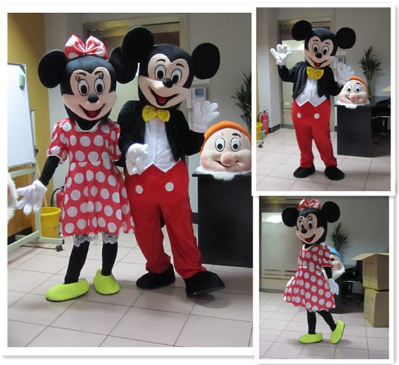 Newest top sale minnie mouse mascot costume professional cartoon costumes inflatable mascot costume Free Shipping(China (Mainland))