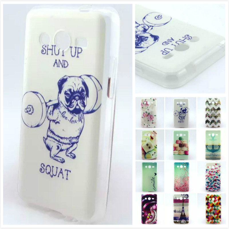Fashion Pattern design Soft TPU Rubber Case Back Cover Skin Pouch For Samsung Galaxy Core 2