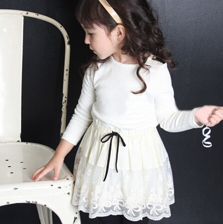 2016 New Long Sleeve Children Lace Patchwork Princess Dress Baby Girls Cotton Kids Wear Pink White