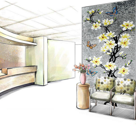 Tile mural backsplash reviews online shopping tile mural for Art deco tile mural