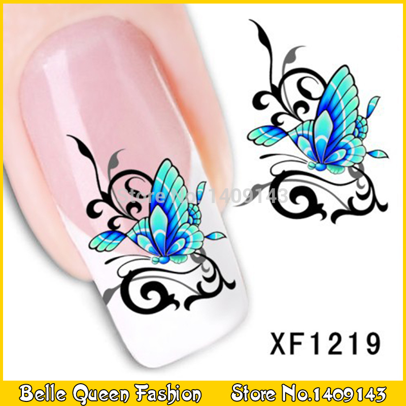 Butterfly Nail WRAPS Flower Nail Art Water Transfers Decals XF1219(China (Mainland))