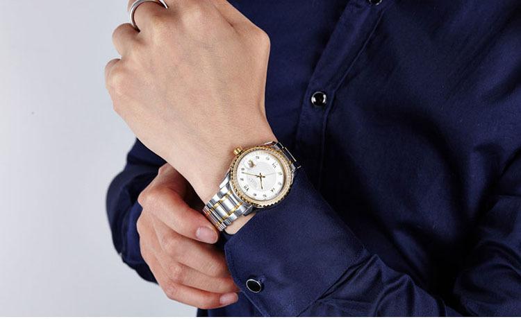 SOLLEN часы мужская мода бизнес водонепроницаемый стали кварцевые часы световой часы золото diamond между муки SL9042