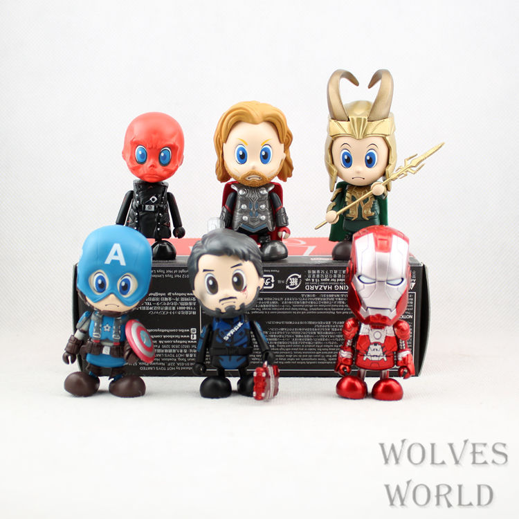Marvel Avengers Assemble SET PVC 9CM Action Figure Doll Kids Toys Freeshipping 6pcs/1set Super Heroes Pvc Collection Model(China (Mainland))