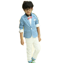 Spring/Autumn Polka Dotted Boys Clothing Sets Kids Blazers Suits+Pants Trousers Toddlers Clothes New 2016 T2DTAO(China (Mainland))