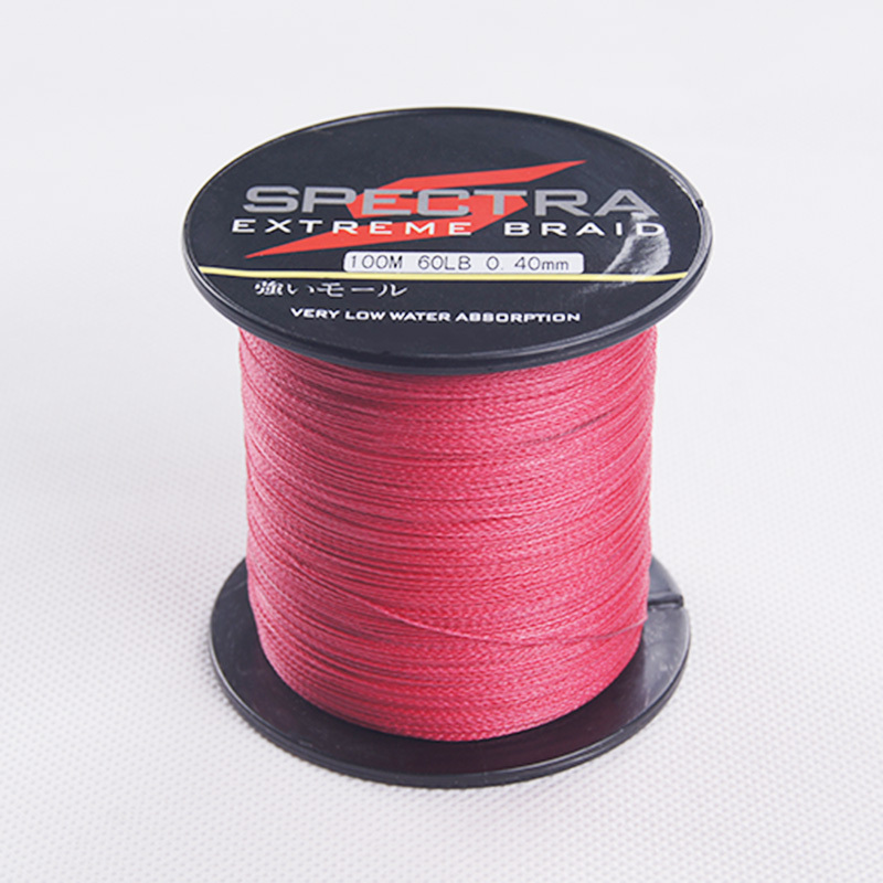 100m Red Braided Fishing Line 4 Strands Multifilament PE Braided Rock Sea Fishing Line Fish(China (Mainland))