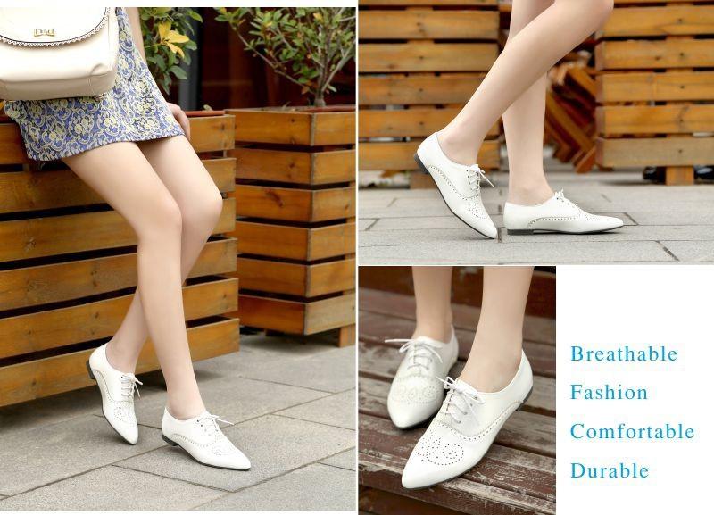 ซื้อ แบรนด์แฟชั่นใหม่ผู้หญิงเคลือบเงาO Xfordsสีดำสีฟ้าสีขาวหญิงb rogueรองเท้าส้นต่ำASP51-5พลัสขนาดใหญ่32 43 10