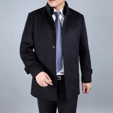 Winter Men's Wool Jackets and coats Mens Fur Collar warm Wool Coats casual Single Breasted thicken Male Woolen Coat big size 4XL(China (Mainland))