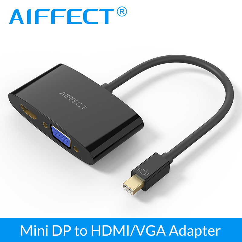 AIFFECT 2 in 1 Mini DP to HDMI VGA Adapter Converter Cable Compatible w for Apple MacBook Air Pro mini iMac Mac(China (Mainland))