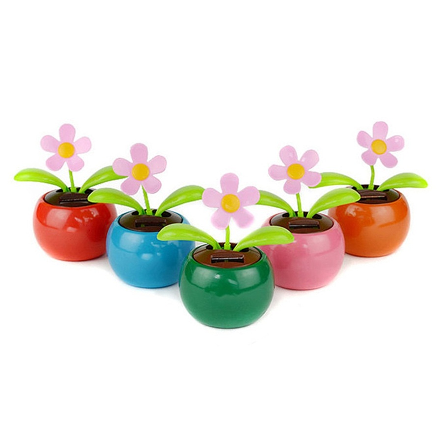 Home Decorating Solar Power Flower Plants Moving Dancing Flowerpot Swing Solar Car Toy Gift(China (Mainland))