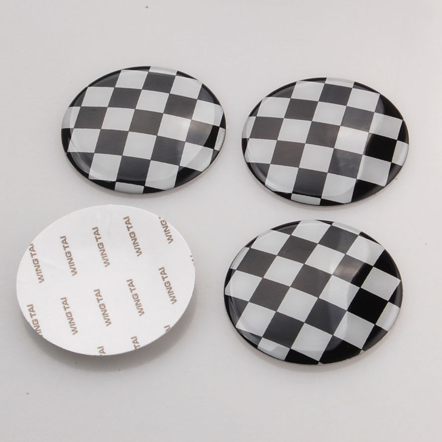 4x 52mm Checkered Pattern Flag Wheel Center Hub Cap Covers Decal Emblem Sticker Fit For Bmw mini Cooper(China (Mainland))