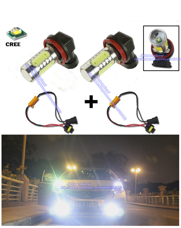 2pcs HID White H11 H8 CREE COB LED Bulbs Fog Lights + Canbus Decoders Error Free,LED 12V for Honda Civic/CR-V/Accord/CR-Z(China (Mainland))