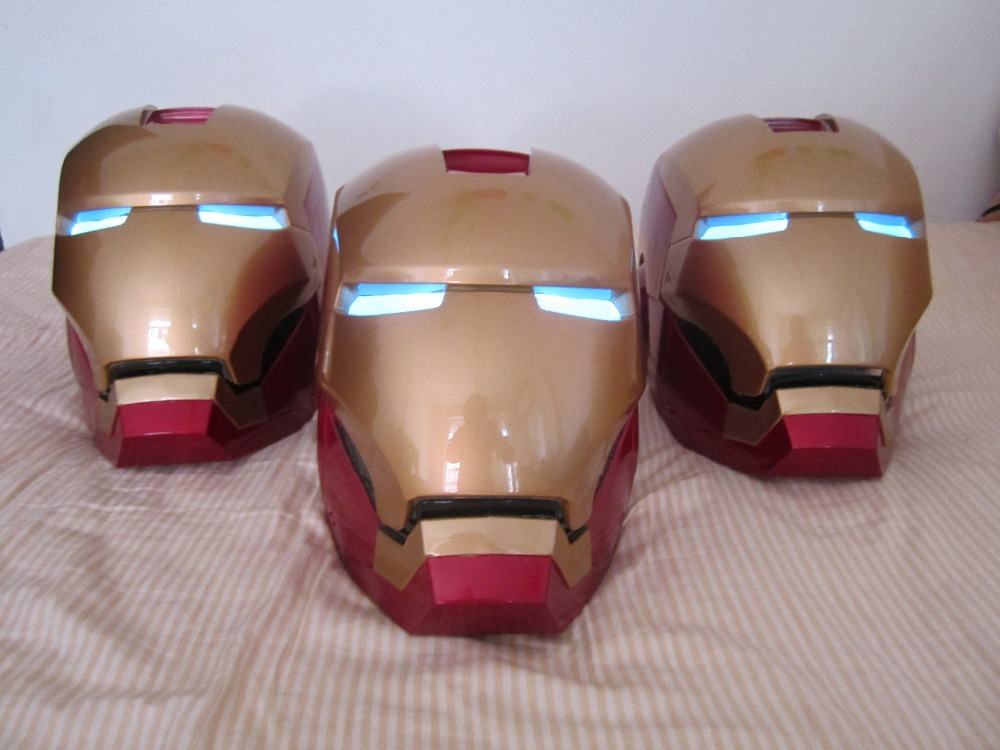 High Quality Iron man Helmet Iron Man Size 1:1 Lights Wear flip RESIN PAINTED TOY FIGURE AVENTURE HERO EYE LIGHT SWITCHF(China (Mainland))