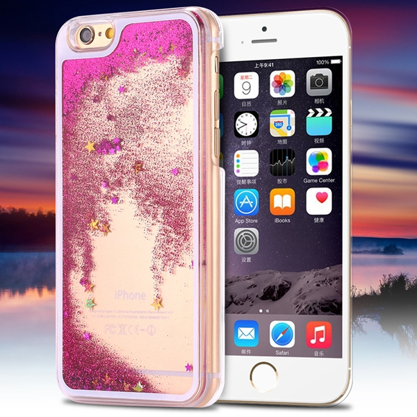 I6 Plus Flow Liquid Sand Glitter Quicksand Back Case For Iphone 6 Plus 5.5inch Luxury Bling Star Hourglass Capa Hard Clear Cover(China (Mainland))